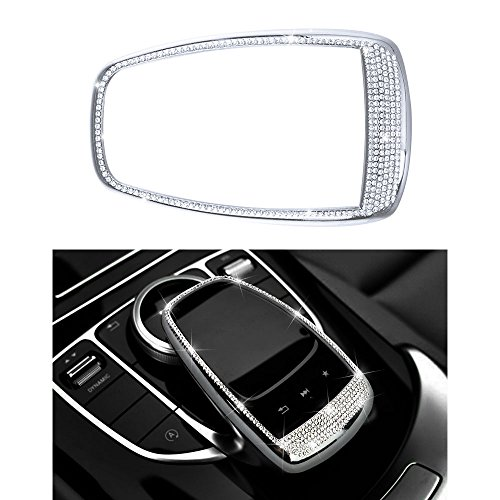 1797 Mercedes Accessories Benz Parts Trim Touchpad COMAND Screen Central Multimedia Control Caps Covers Interior Visors Decorations W204 X204 W166 X166 C Class GLK AMG Women Men Bling Crystal Silver