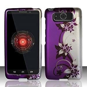 For Motorola Droid Mini XT1030 (Verizon) - Rubberized Design Cover - Purple/Silver Vines