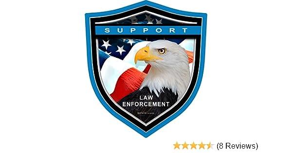 "4/"" Support Law Enforcement Blue Line Shield Eagle Decal ProSticker 1099 One"