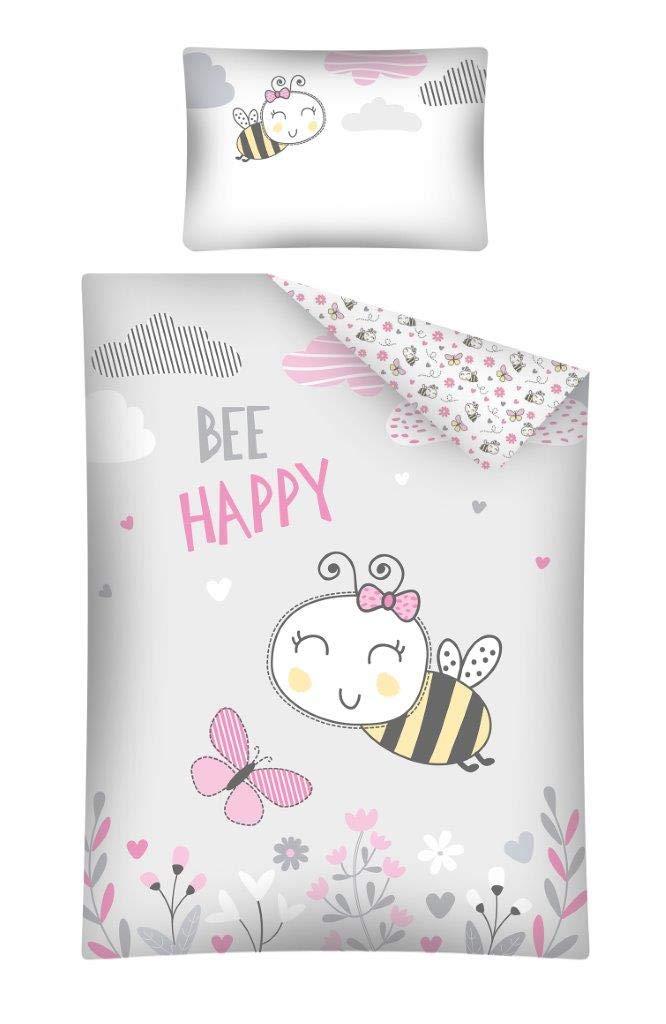 Be Happy Parure de Lit B/éb/é Abeille et Papillon Housse de Couette 100 x 135 cm Taie 40 x 60 cm
