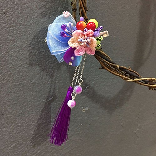 usongs Original hand-archaic Chinese clothing girl child hairpin snow yarn flowers berries jade tassel hanging ear hair trim clip