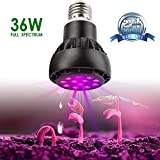 36W LED Plant Grow Light Bulb - Grow Lights for Indoor Plants - Every Lamp Bead is Full Spectrum, E26 & E27 Base with 12 LEDs