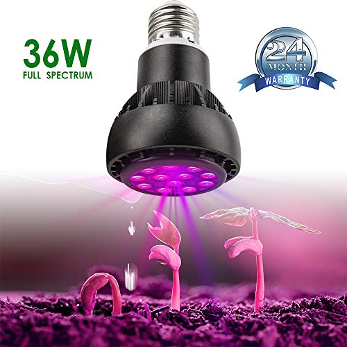 LED Grow Light Bulb - 36W Grow Light Bulbs for Indoor Plants - Every Lamp Bead is LED Full Spectrum, E26 & E27 Base with 12 LEDs