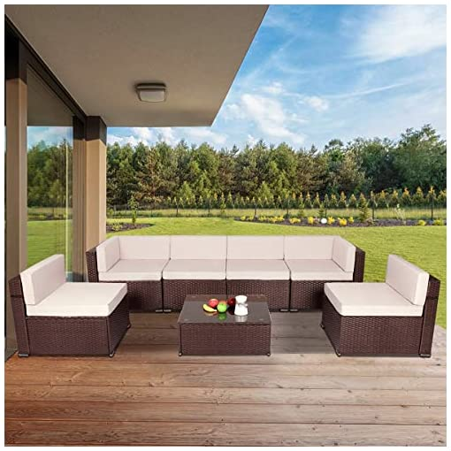 Garden and Outdoor U-MAX 7 Piece Outdoor Patio Furniture Set, PE Rattan Wicker Sofa Set, Outdoor Sectional Furniture Chair Set with Khaki… patio furniture sets