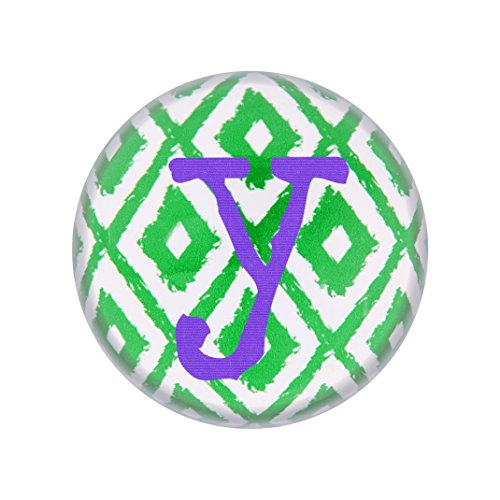 Concepts Table Decoration Cathys (Cathy's Concepts Personalized Ikat Domed Glass Paperweight, Letter Y, Purple/Green/White)