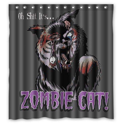 Shower Curtain Waterproof Bath Curtain Funny Zombie Cat/Zombie Santa Claus/How to Kill A Zombie? Home Decor Bathroom PEVA Fabric 66(w) x72(h) Inch