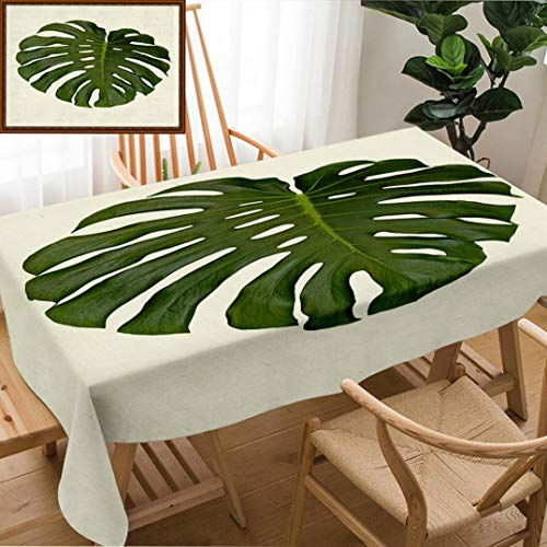 Skocici Unique Custom Design Cotton and Linen Blend Tablecloth an Isolated Leaf of Split Leaf Philodendron Monstera DeliciosaTablecovers for Rectangle Tables, Large Size 86