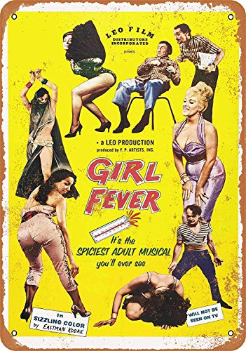 QDTrade Vintage Look Tin Metal Sign 8 x 12inch - 1960 Girl Fever Adult Musical Movie