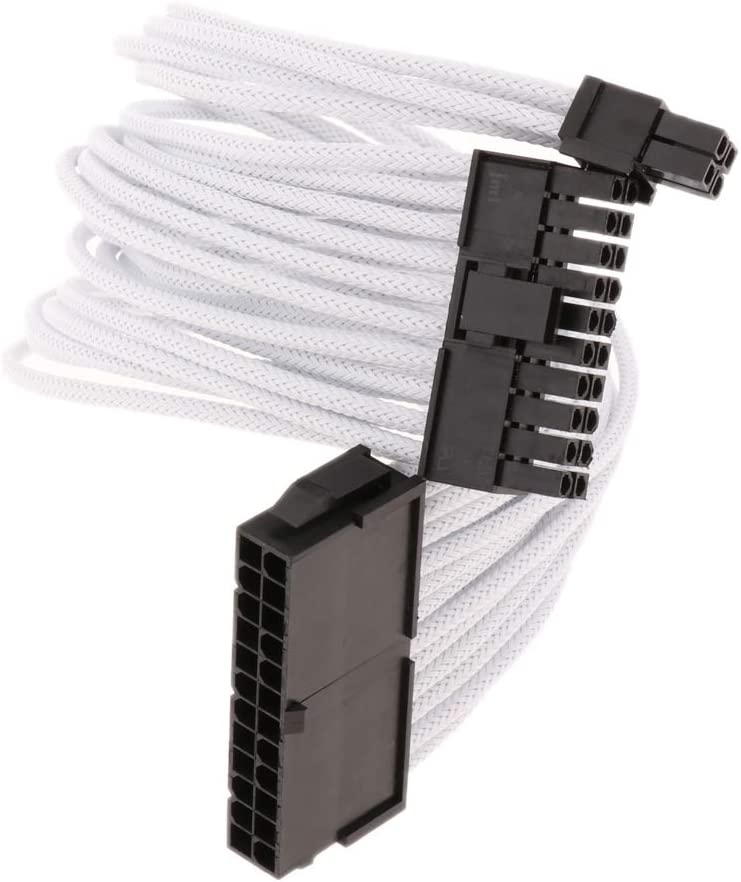 30cm ATX 24 Pin Male to 24 Pin Female Power Extension Cable for PC PSU White
