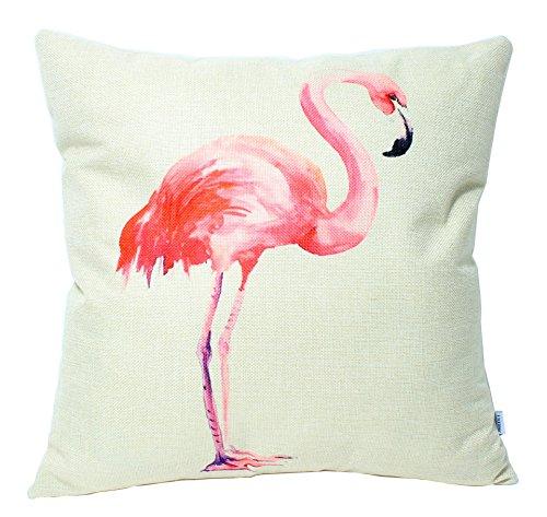 Jinbeile Flamingo Cotton Linen Throw Pillow Cover Decorative 18 X 18 Inch Tropical Birds Cushion Case Home Pillowcase