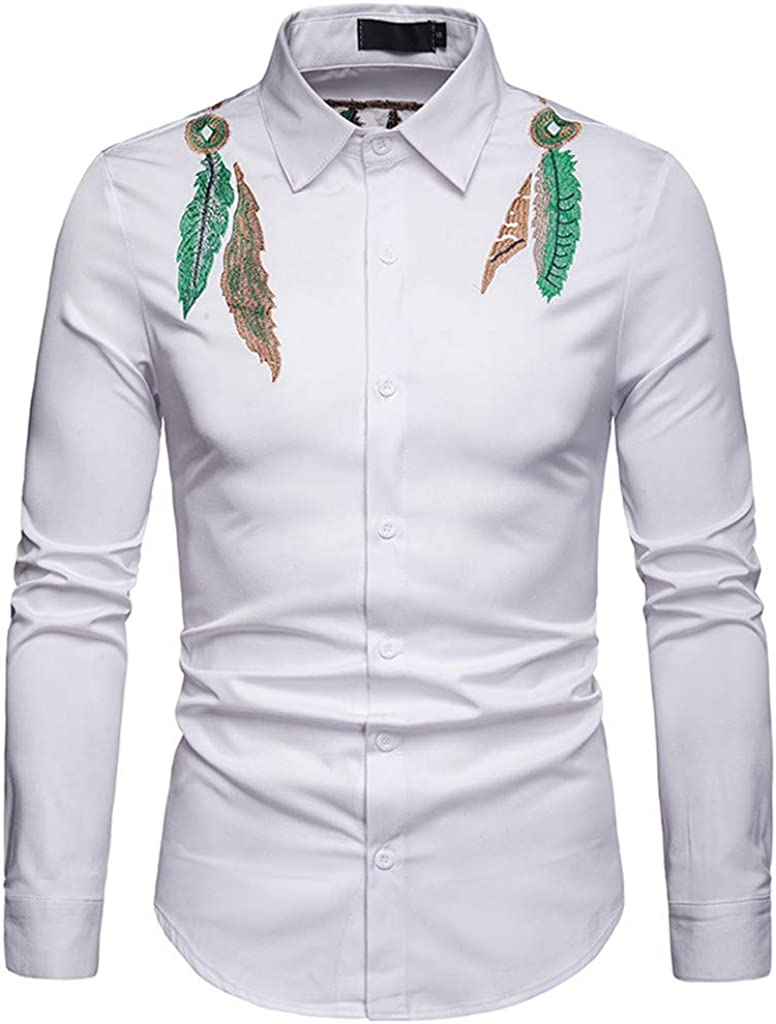 STORTO Mens Solid Slim Fit Long Sleeve Casual Printed Dress Shirt Top