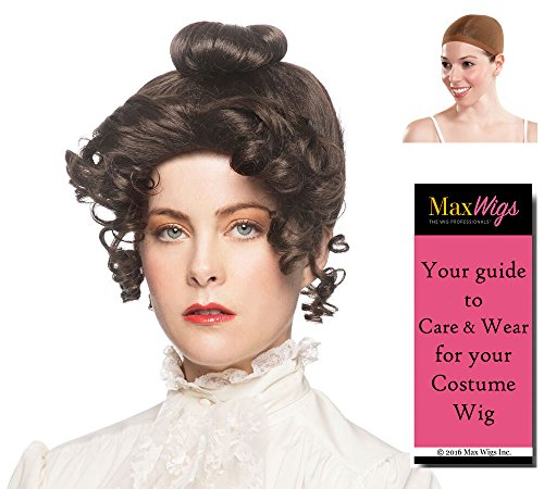 Gibson Girl Color Brown - Enigma Wigs Upsweep 20th Century Theater Youthful Bundle with Wig Cap, MaxWigs Costume Wig Care -