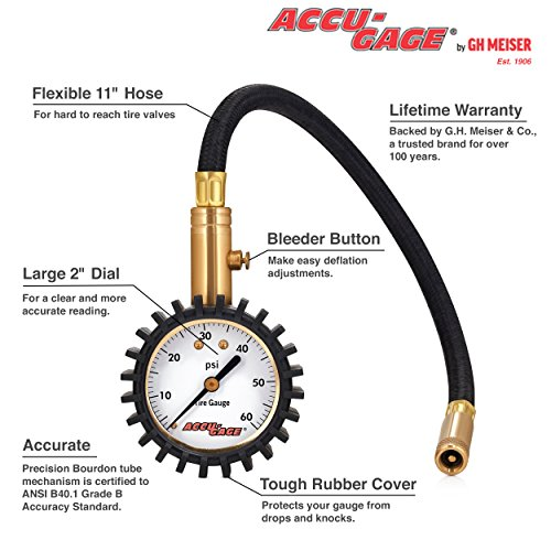 Accu-Gage RH60X Professional Tire Pressure Gauge with Protective Rubber Guard (60 PSI),Straight Chuc - http://coolthings.us