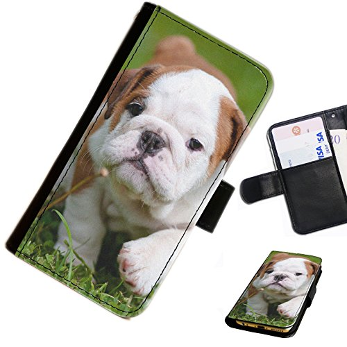 Hairyworm - Cute Bulldog puppy on grass Nokia Lumia 635 leather side flip wallet cell phone case, cover with card slots, money slot and magnetic clasp to close.