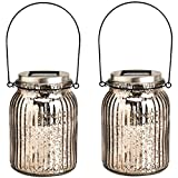 Cheap GIGALUMI Solar Powered Mercury Glass Mason Jar Lights, 2 Pack Hanging Solar Laterns Table Lights for Garden, Patio, Backyard.(Ideal Gift)