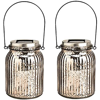 GIGALUMI Solar Powered Mercury Glass Mason Jar Lights, 2 Pack Hanging Solar Laterns Table Lights for Garden, Patio, Backyard.(Ideal Gift) - Crafted of glass with a silver mercury finish, our solar-powered lantern features a premium white LED lights that make the lamp look fantastic at night! Multiple Uses: 2 ways to install these solar lights, Hang or stand on a flat surface Solar powered Mason Jar Lights: No wiring. No AC current. Store energy from sun rays during daytime and automatically turn on at night. Illuminating for up to 8 hours with a full charge - patio, outdoor-lights, outdoor-decor - 511KCB2950L. SS400  -