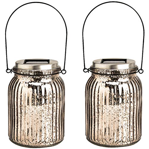 - GIGALUMI Solar Powered Mercury Glass Mason Jar Lights, 2 Pack Hanging Solar Laterns Table Lights for Garden, Patio, Backyard.(Ideal Gift)