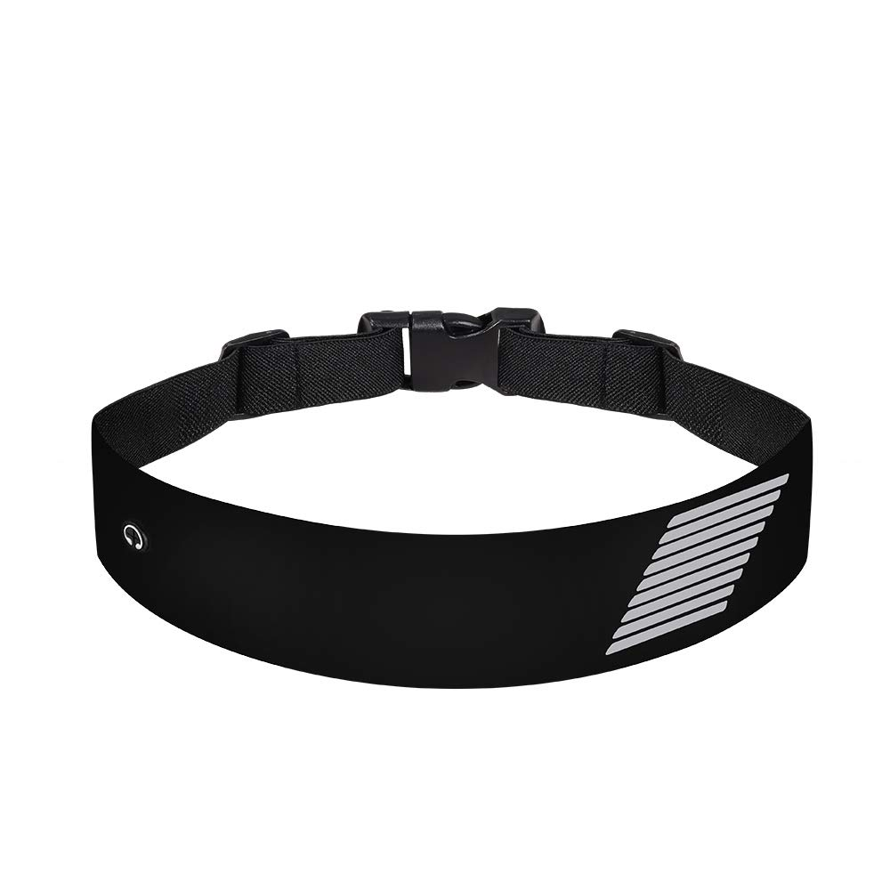 JiuXuan Running Waist Pack, Belt Bag with Earphone Hole Adjustable Waist Curve Elastic Band, Suitable for Men and Women, Convenience to Walk, Cycling, Mountaineering Trip. Black