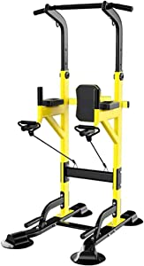 Fitness equipment Pull-up Bars Free Standing Stand Dip Station Power Tower Pull-up Bar Strength Training for Home Gym 990 Weight Capacity (Size : C-Yellow)