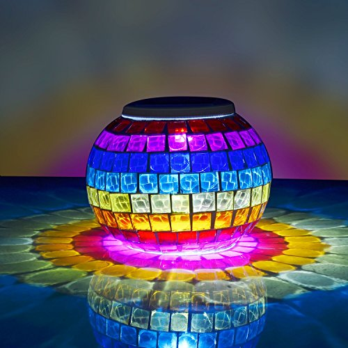 Senbowe™ Solar Powered Outdoor Color Changing Mosaic Glass Rainbow LED Lights, Solar Table Lamps,Waterproof Solar Night Lights for Home, Garden,Yard, Patio, Party,Christmas, and Festival Gift