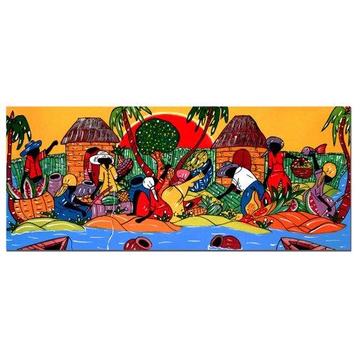Latin Art - Caribbean Armory by Master's Art, 14x32-Inch Canvas Wall Art