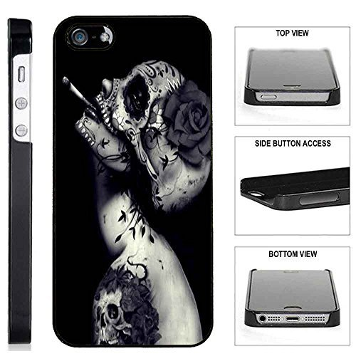 (TeleSkins] - Plastic Case iPhone SE / 5S / 5 - Creative Skull Flower Tattoo Design - Ultra Durable Slim Fit, Protective Plastic Snap On Back Case/Cover)