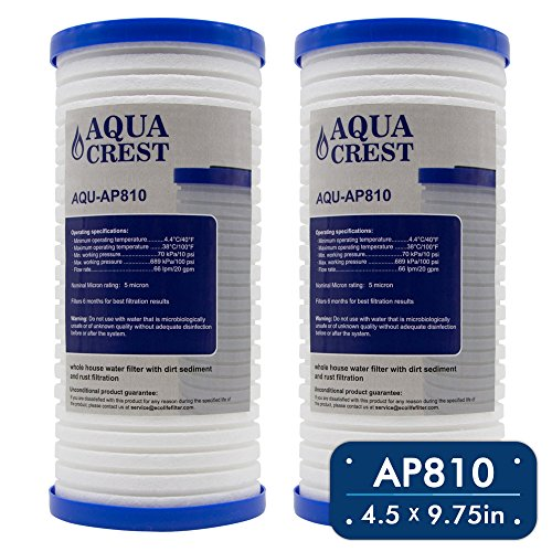 AQUACREST AP810 Replacement for 3M Aqua-Authentic AP810, AP801, Whirlpool WHKF-GD25BB, 5 Micron Whole House Water Filter (Package May Vary)(Pack of 2)