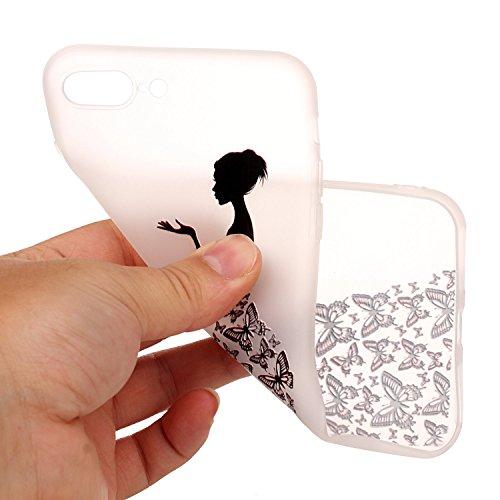 iPhone 8 Plus Hülle,3D Schmetterlingsmädchen Premium Handy Tasche Schutz Transparent Schale Für Apple iPhone 8 Plus + Zwei Geschenk