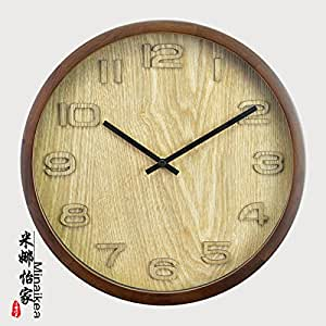 Imoerjia Silence In Living Room Wall Clock Sitting Mute Wall Clock Round Solid Wood