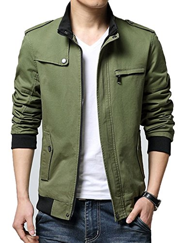 XueYin Men's Solid Cotton Casual Wear Stand Collar Jacket(Army green,M size)