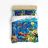 Cheap Comforter Sets Under 50 BMALL Duvet Cover Set Queen Size, Ocean Animal Tropical Fish Underwater Coral Reef Undersea World Soft Stylish Home Decor Duvet Cover Set