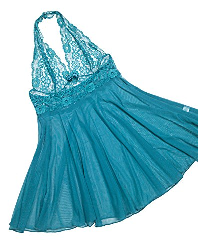 Babydoll Lenceria Maternity Lace Sexy Halter Backless D1 Turquoise M (Sexy Lingerie Pregnancy)