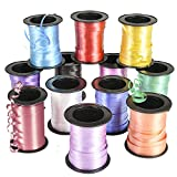 Curling Ribbon Rolls (12 Pack) 60 Feet Each, Assortment of 12 Different Bright Colors, Assorted Color Wrap, Crafts, Balloons
