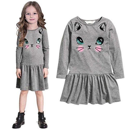 2016 Baby Girls Kids Casual Cat Printed Dresses Children Clothing Princess Dress (7 Years, Gray)