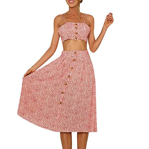 POTO Women Summer Dot Button Crop Top Two Piece Sling Long Skirt Sets Beach Dress Sundress