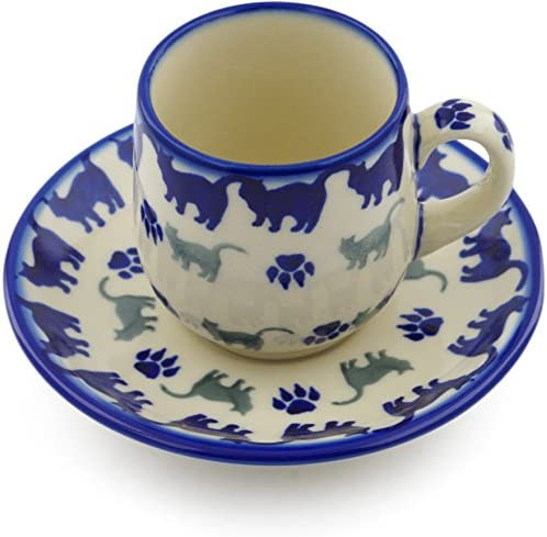 Certificate of Authenticity Polish Pottery espresso cup with saucer Boo Boo Kitty Paws Theme