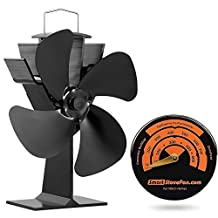 Circulate Heat 220 Cubic Feet/Minute Eco Heat Powered Stove Fan with Gift Magnetic Stove Thermometer
