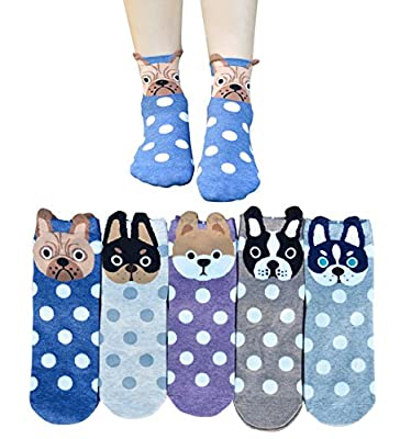5 Pairs Womens Cotton Casual Crew Socks Cute Animal Painting Dog for Women