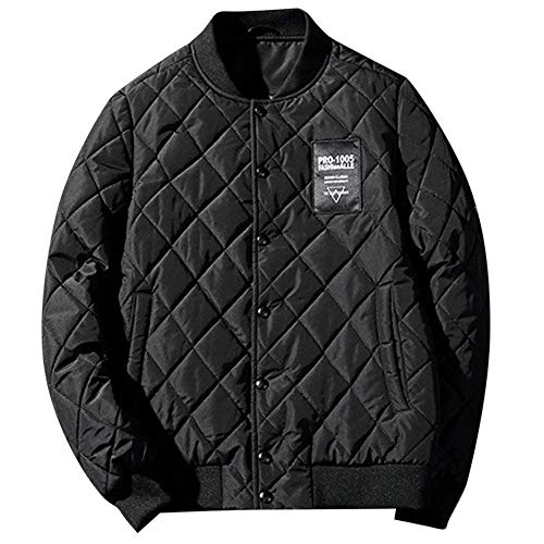 WUYIMC Men's Autumn Winter Jacket Vintage Thickening Retro Zipper Baseball Collar Casual Down Jackets Top Coat