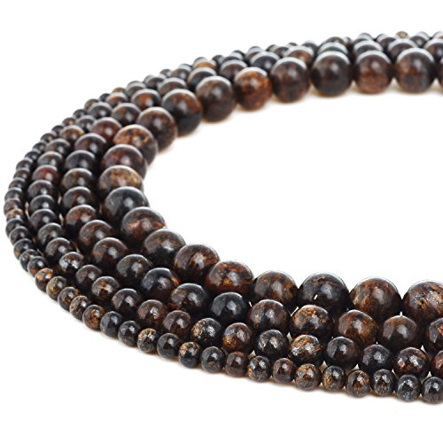 - RUBYCA Natural Bronzite Gemstone Round Loose Beads Bronze for DIY Jewelry Making 1 Strand - 6mm