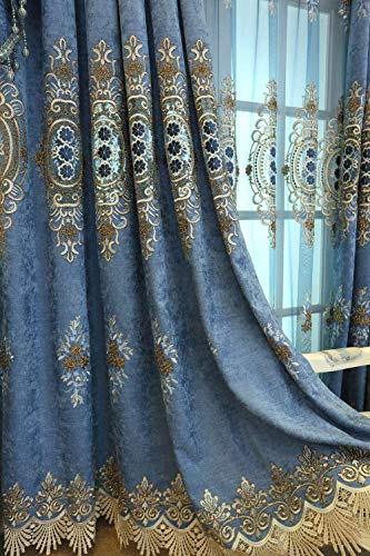 - ZZCZZC 2 Pack - European Luxury Blue Curtain Shading Cloth Curtains with Fringe Embroidered Curtain Panels Grommet Jacquard Laced Drape Villa Macrame Window Dressing W95 x L96 inch Total W190 inch
