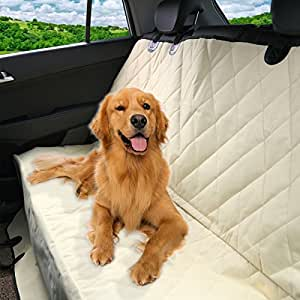 Luxury Pet Car Seat Cover by Pet Magasin - Waterproof & Scratch Proof & Nonslip Backing & Hammock Style & Heavy Duty Back Seat Protector for Cars Trucks and SUVs