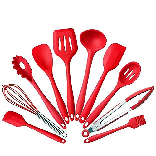 10 Pcs set Silicone Heat Resistant Kitchen Cooking Utensils spatula Non-Stick Baking Tool tongs ladle gadget by BonBon (red)