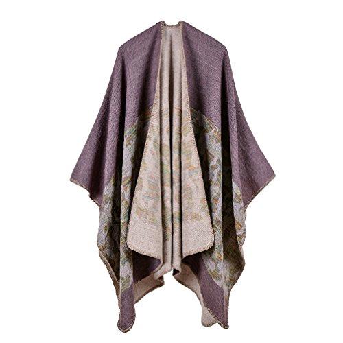 Bakerdani Women's Winter Wrap Blanket Poncho Cape Shawl Cardigans Sweater Coat ()