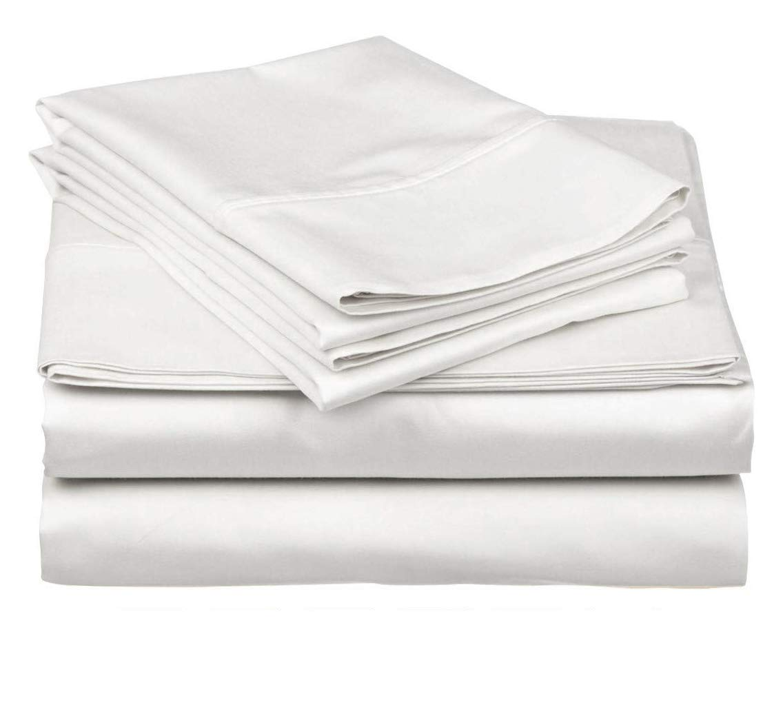 Bedding Overseas 800-Thread-Count 100% Cotton,3 Piece Flat California King Size White Flat Sheet, Long Staple Cotton, Sateen Weave for Soft and Silky