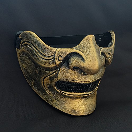tripple_777 Custom Halloween Costume Cosplay BB Gun Hanya Kabuki Oni Samurai Airsoft Mask gold MA214 -