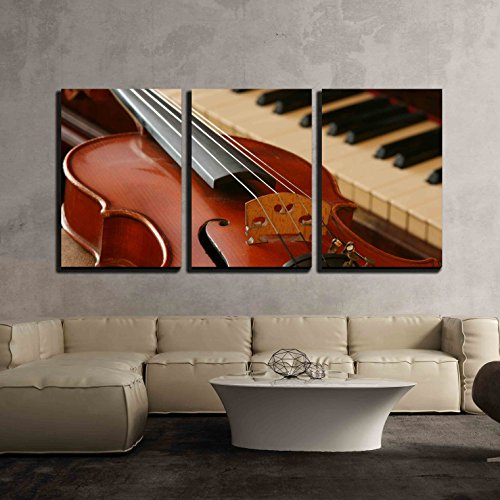 wall26 - 3 Piece Canvas Wall Art - Old Violin and an Old Walnut Piano - Modern Home Decor Stretched and Framed Ready to Hang - 16