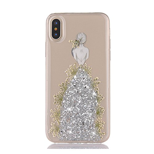 Price comparison product image Urberry iPhone X Case, iPhone X Bling Case, Wedding Girl Design Shock-proof Case for iPhone X with a Free Screen Protector (Silver)