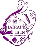 The Hairapist is in, Walls with Style, wall sticker for cosmotology beauticians (Dark Pirple)