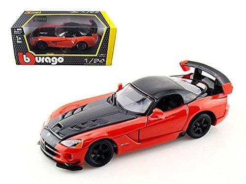 (Bburago New 1:24 W/B Collection - Orange Black Dodge Viper SRT 10 ACR Diecast Model Car)